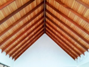 Another of the Mahogany beams with T&G backing
